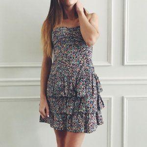 Express Floral Strapless Ruffled Dress